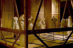 Exhibition display of white feminine garments