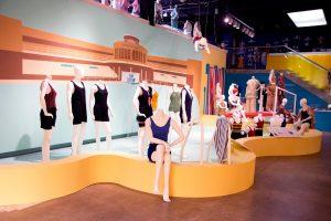 Exhibition display of mannequins in swimwear