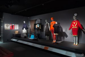 Exhibition display of dressed mannequins