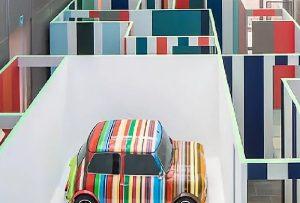 Exhibition display of striped mini car