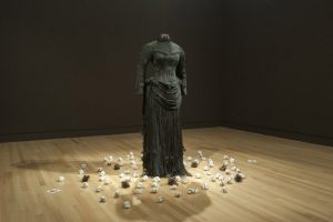 Exhibition display of mourning dress on a single mannequin