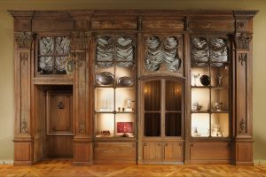 Exhibition display of cabinet containing fabric samples