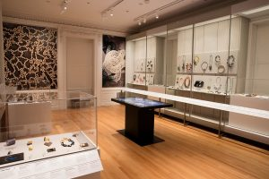 Exhibition display of jewellery in cases