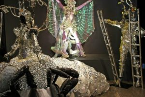 Exhibition display of fantasy-style silver costumes