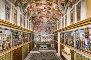 Exhibition display of corridor covered in renaissance style paintings