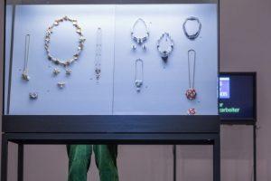Exhibition display of case of jewellerry