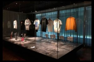 Exhibition display of tshirts on hangers