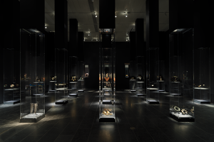 Exhibition display of glass cases of jewellery