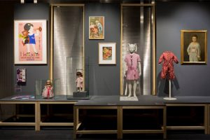 Exhibition display of children's dressed mannequins