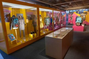 Exhibition display cases of dresses