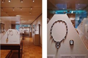 Exhibition display of jewelry in case