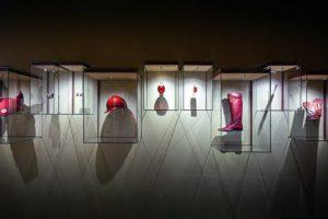 Exhibition display of wall mounted footwear