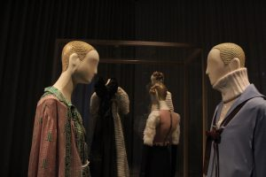 Dressed mannequins with skull cap wigs