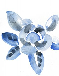 Water colour of a blue flower and leaves
