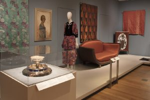 Exhibition display of furnishings and dressed mannequins