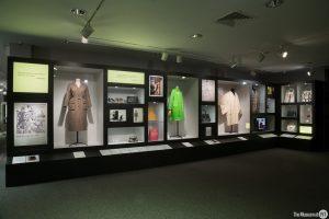 Exhibition display of dress and handbags
