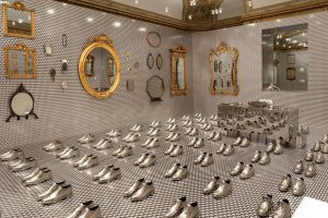 Exhibition display of silver shoes