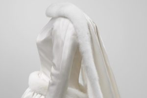 Head and shoulders side view mannequin in wedding dress