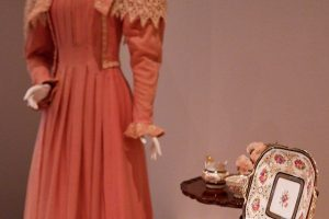 Exhibition display of dressed mannequin beside a tea service on a table
