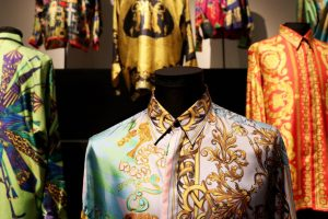 Exhibition display of bright colourful men's shirts