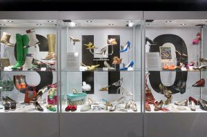 Exhibition vitrine display of shoes