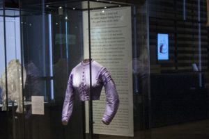 Exhibition display of dressed mannequin
