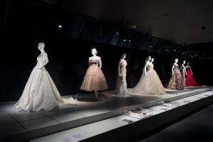 Exhibition display of mannequins in wedding attire