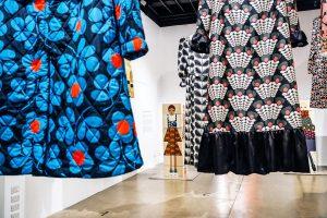 Exhibition display of hanging garments