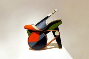 Exhibition display of multi-coloured shoe