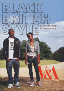 Exhibition flyer of 2 people standing underneath title of black british style and dates