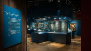 Exhibition display of cabinets containing jewels