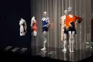 Exhibition display of mannequins in swimming costumes