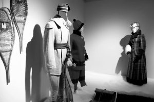 Exhibition display of dressed mannequins in winter clothing